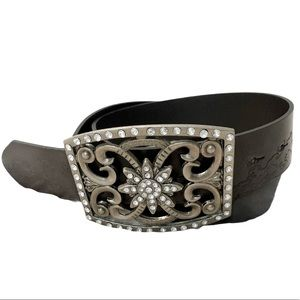 PacSun Brown leather belt large buckle size M